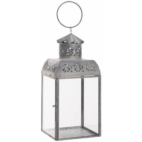 Laterne  mit Lochmuster aus Zink und Glas