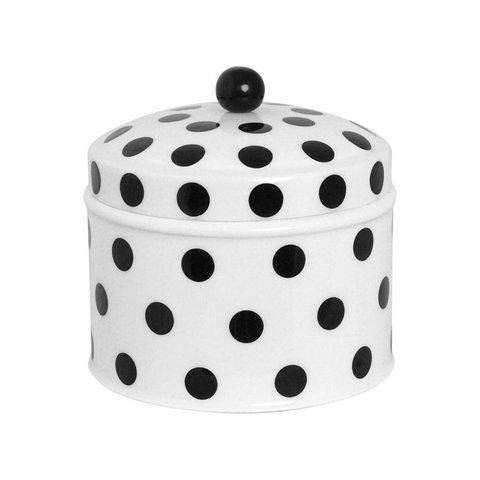 Blechdose weiß mit schwarzen Punkten