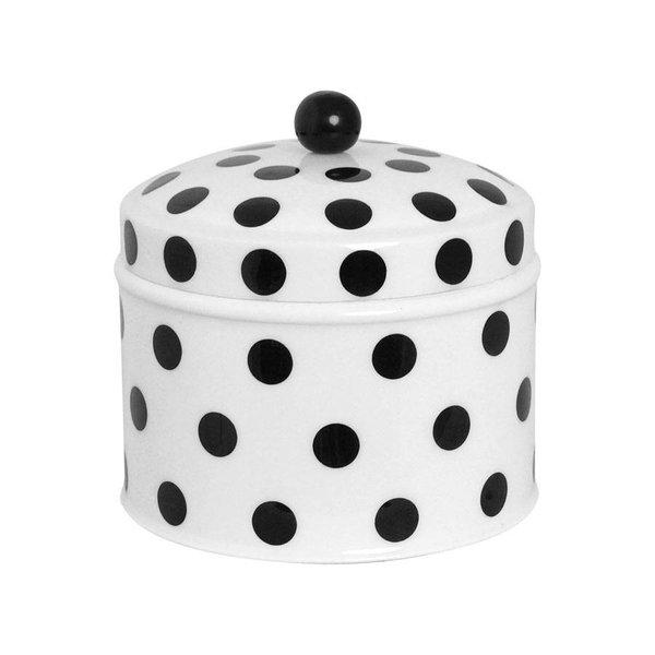 strömshaga Blechdose weiß mit schwarzen Punkten