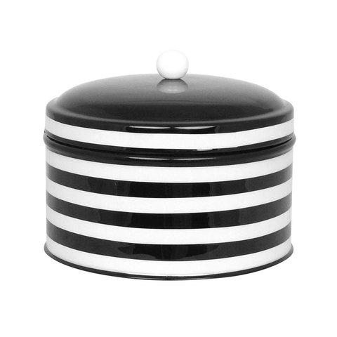 Blechdose schwarz/ weiß  gestreift