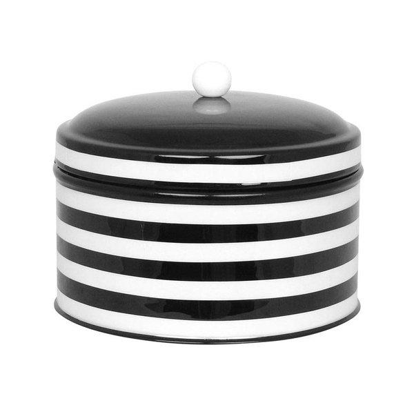 strömshaga Blechdose schwarz/ weiß  gestreift