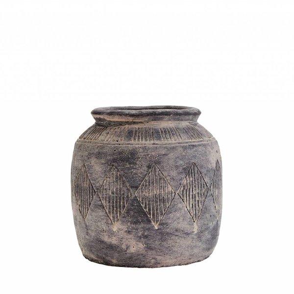 Madam Stoltz Vase grau/ beige aus Zement