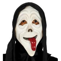 Scream Masker met tong met capuchon volledig