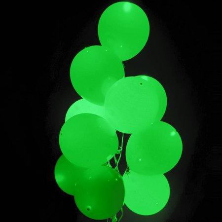 Groene Led Ballonnen Metallic met schakelaar 30cm 4 stuks
