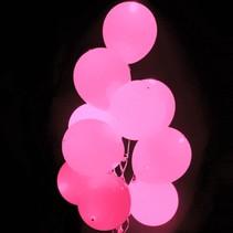 Roze Led Ballonnen Metallic met schakelaar 30cm 4 stuks