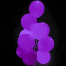 Paarse Led Ballonnen Metallic met schakelaar 30cm 4 stuks