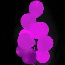 Fuchsia Led Ballonnen Metallic met schakelaar 30cm 4 stuks