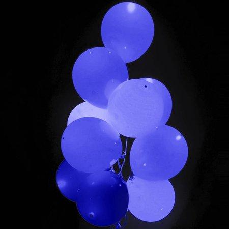 Blauwe Led Ballonnen met schakelaar 30cm 4 stuks