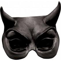 Halloween Masker Duivel Zwart Deluxe half