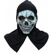 Halloween Masker Schedel met capuchon Deluxe volledig