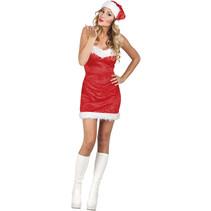 Kerstvrouw Jurkje met kerstmuts medium