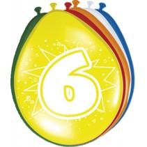 Ballonnen 6 Jaar 30cm 8 stuks