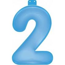 Opblaascijfer 2 Blauw 35cm