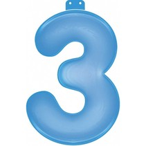 Opblaascijfer 3 Blauw 35cm