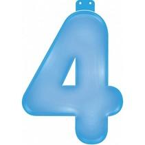 Opblaascijfer 4 Blauw 35cm