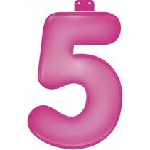 Opblaascijfer 5 Roze 35cm