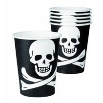 Piraten Bekers Doodshoofd 250ml 6 stuks