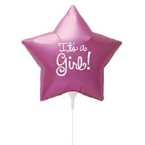 Geboorte Ballon Meisje It's a Girl op stokje 23cm