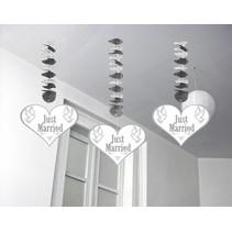 Hangdecoratie Just Married 75cm 3 stuks