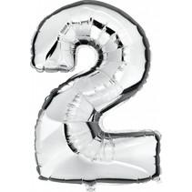 Folie Ballon Cijfer 2 Zilver XL 86cm leeg