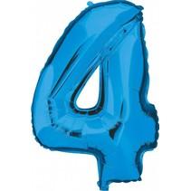 Folie Ballon Cijfer 4 Blauw 100cm leeg