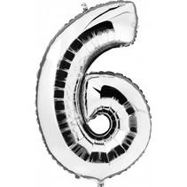 Folie Ballon Cijfer 6 Zilver 100cm leeg
