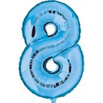 Folie Ballon Cijfer 8 Blauw 100cm leeg