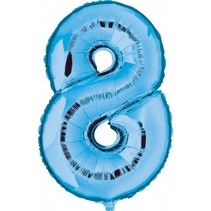 Folie Ballon Cijfer 8 Blauw XL 86cm leeg