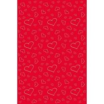 Rode Loper met witte hartjes 450x50cm
