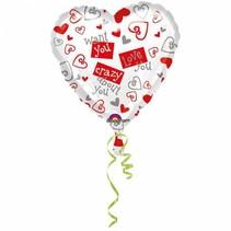Helium Ballon Hart Love You 45cm leeg