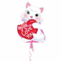 Helium Ballon Love You Kitten 45cm leeg of gevuld