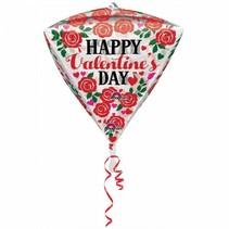 Helium Ballon Happy Valentine's Day Diamant 43cm leeg of gevuld