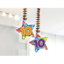 Hangdecoratie 10 Jaar 75cm 2 stuks
