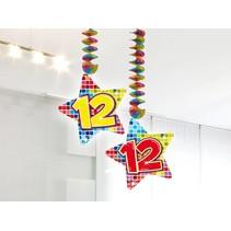 Hangdecoratie 12 Jaar 75cm 2 stuks
