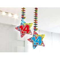 Hangdecoratie 14 Jaar 75cm 2 stuks
