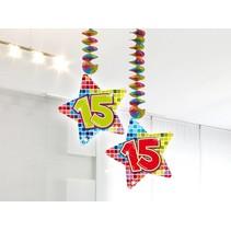 Hangdecoratie 15 Jaar 75cm 2 stuks