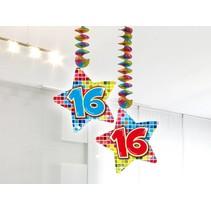 Hangdecoratie 16 Jaar 75cm 2 stuks