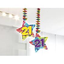 Hangdecoratie 21 Jaar 75cm 2 stuks