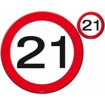 Placemats en Onderzetters 21 Jaar Verkeersbord 4 stuks