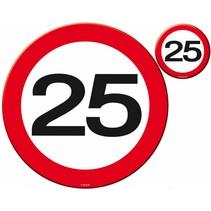 Placemats en Onderzetters 25 Jaar Verkeersbord 4 stuks