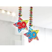 Hangdecoratie 30 Jaar 75cm 2 stuks