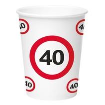 Bekers 40 Jaar Verkeersbord Karton 350ml 8 stuks