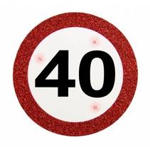 Badge 40 Jaar Verkeersbord met verlichting 12cm