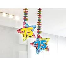 Hangdecoratie 75 Jaar 75cm 2 stuks