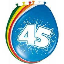 Ballonnen 45 Jaar 30cm 8 stuks