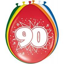 Ballonnen 90 Jaar 30cm 8 stuks