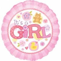 Helium Ballon Geboorte Meisje It's a Girl 43cm leeg