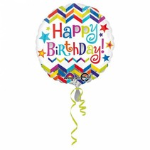 Helium Ballon Happy Birthday Sterren 43cm leeg of gevuld