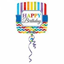 Helium Ballon Happy Birthday Strepen 43cm leeg