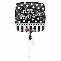 Helium Ballon Happy Birthday Zwart & Wit 43cm leeg of gevuld